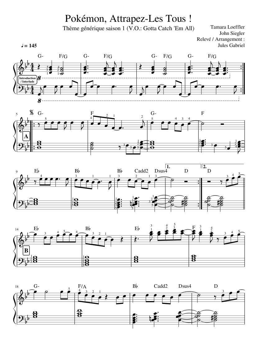 Pokemon Attrapez Les Tous Piano Sheet Music For Piano Solo Musescore Com