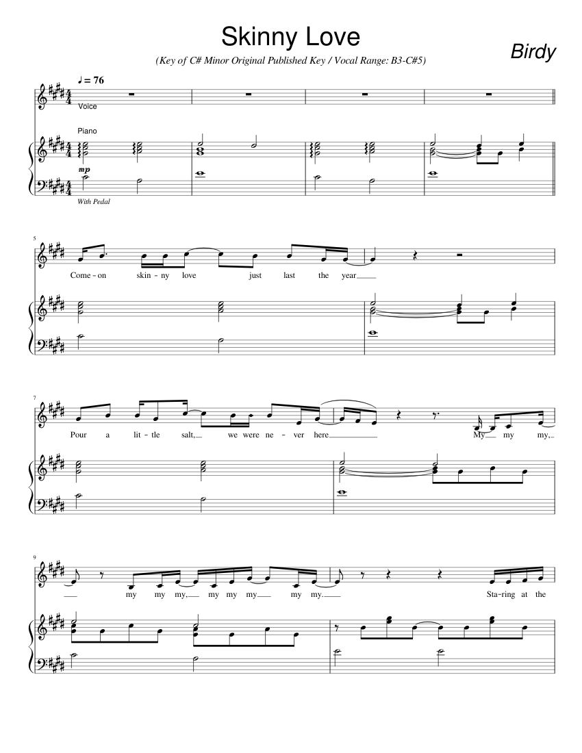 Skinny Love Sheet Music For Piano Voice Download Free In Pdf Or Midi