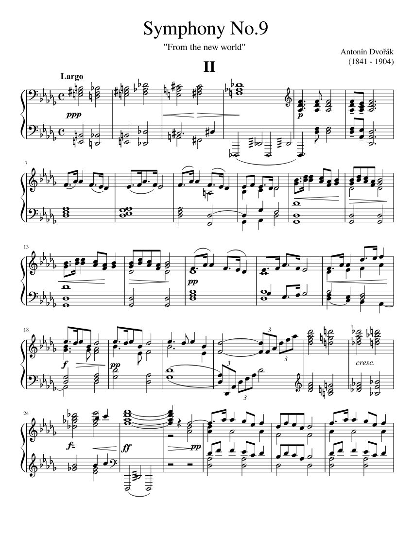 Symphony No.9, Op.95 by Antonín Dvořák sheet music arranged by giangcua3d for Solo – 1 of 7 pages