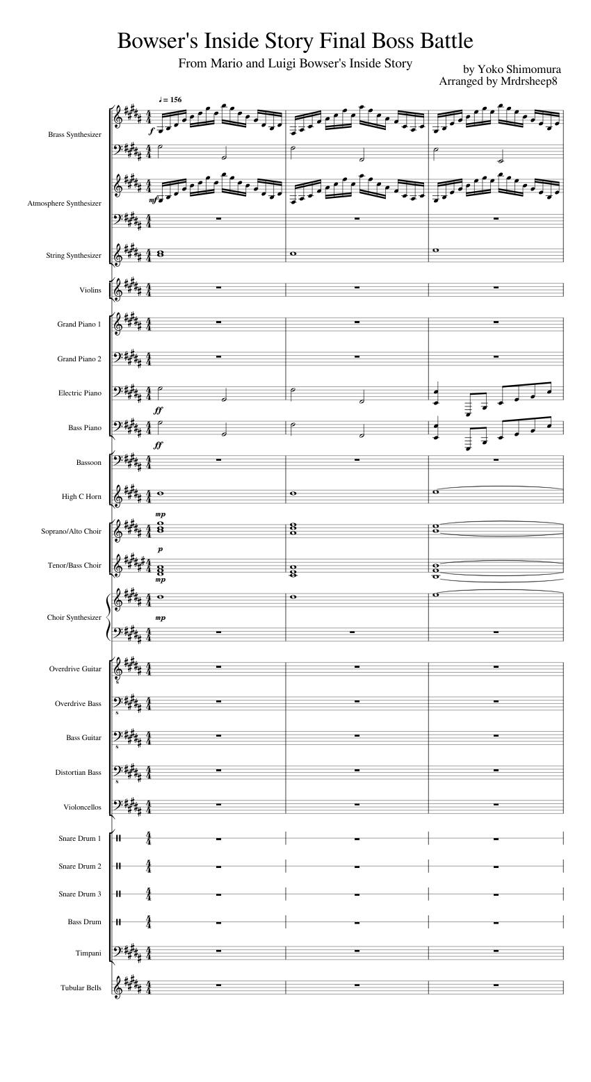 Bowser's Inside Story Final Boss Battle sheet music for Piano, Brass