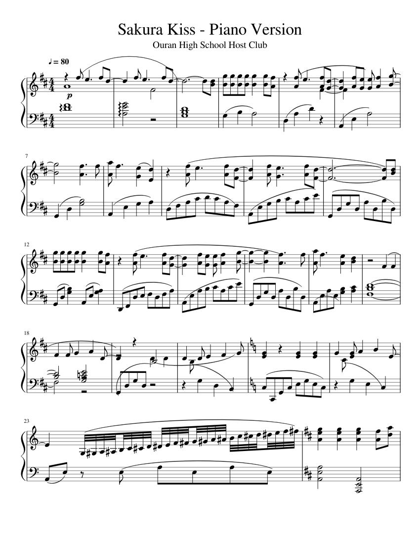 Sakura iro no yume (cherry coloured dream) piano solo sheet.