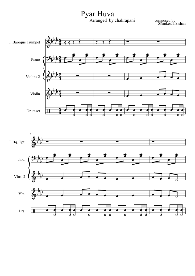 Hindi Song Pyar Huva Sheet Music For Piano Violin Solo Musescore Com So check the list now and start showing off your amazing skills to the audience out there. hindi song pyar huva sheet music for