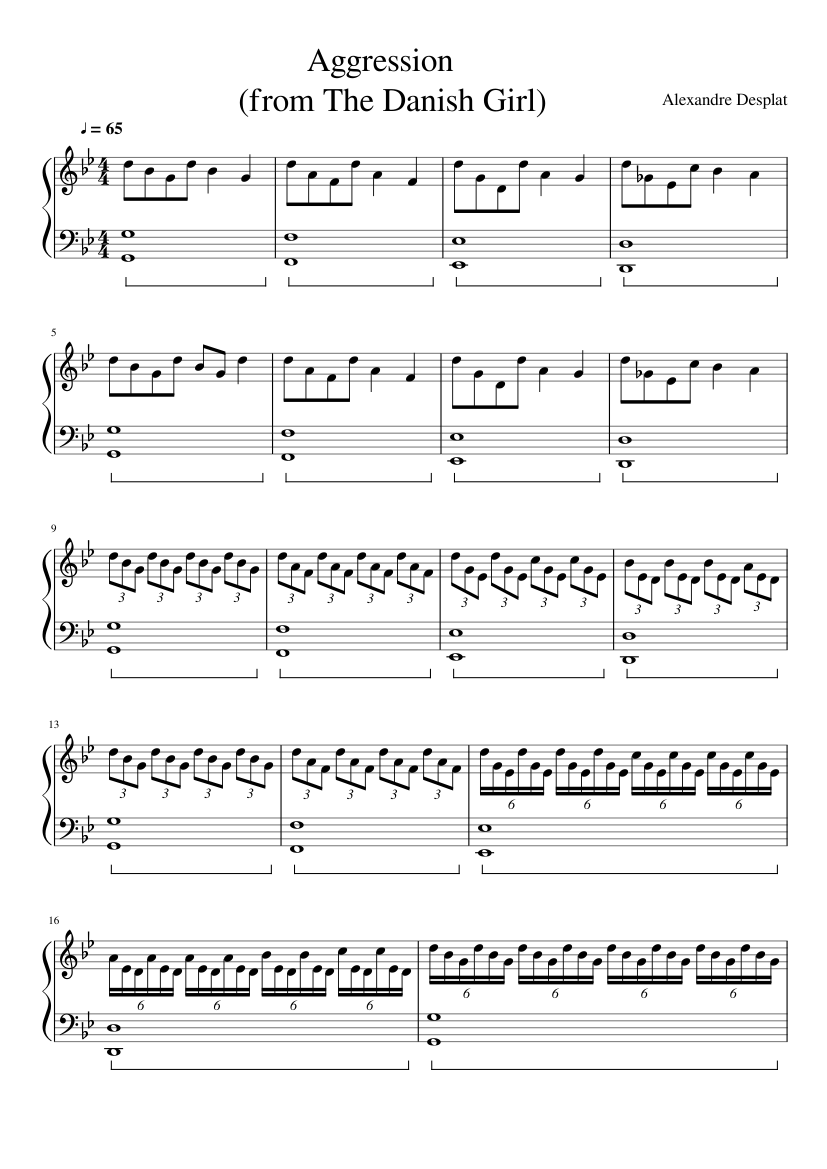 Aggression (from 'The danish girl' film) sheet music for