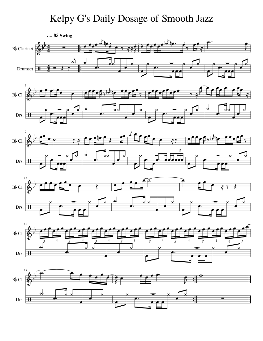 Kelpy G S Daily Dosage Of Smooth Jazz Sheet Music For Drum Group Clarinet In B Flat Mixed Duet Musescore Com Hai navigato fino a qui per trovare informazioni su kelpy g? daily dosage of smooth jazz sheet music