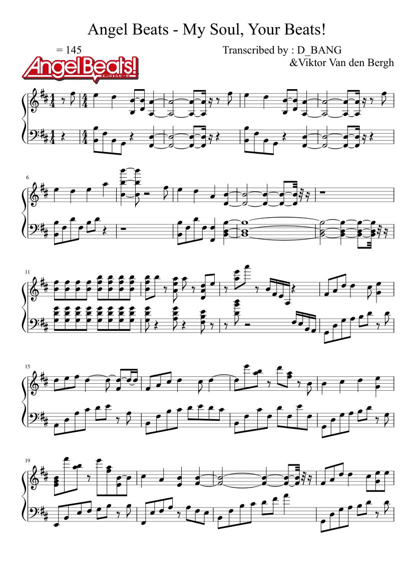 Angel Beats Op angel beats - my soul, your beats! (full) sheet music for
