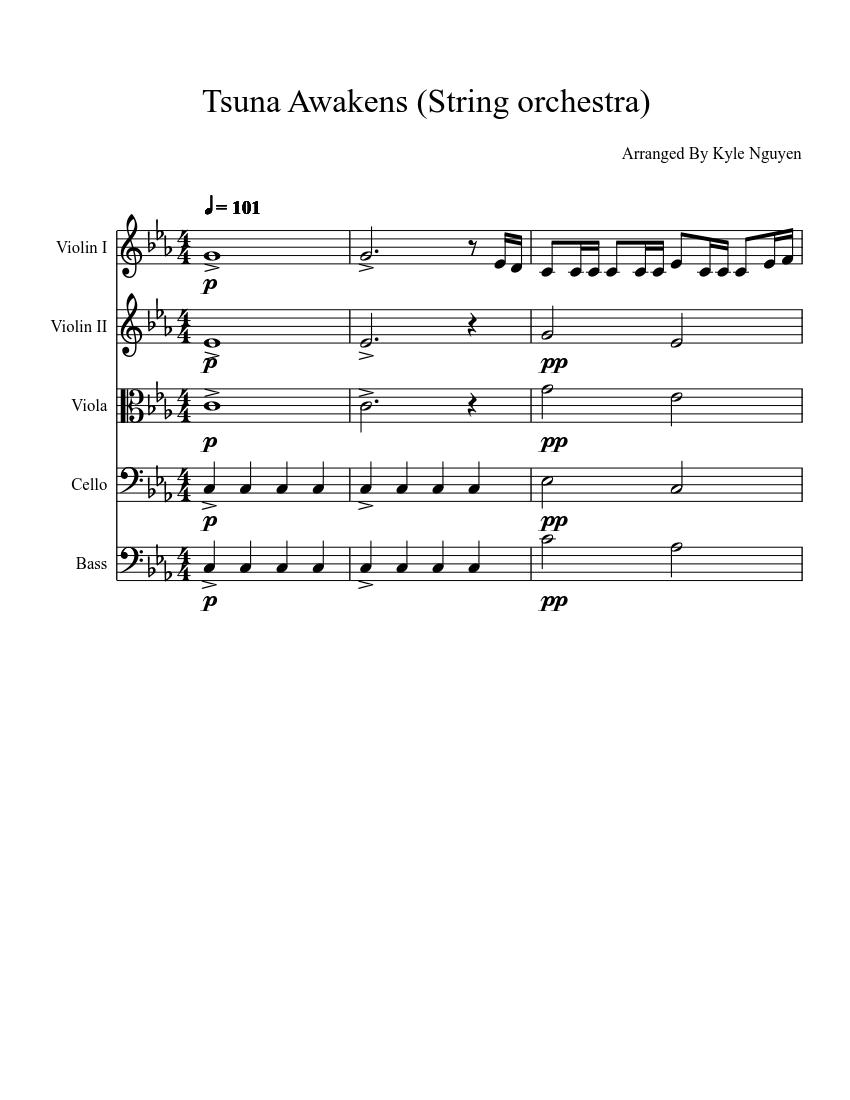 Tsuna Awakens String Orchestra Sheet Music For Cello Viola Bass Mixed Trio Musescore Com