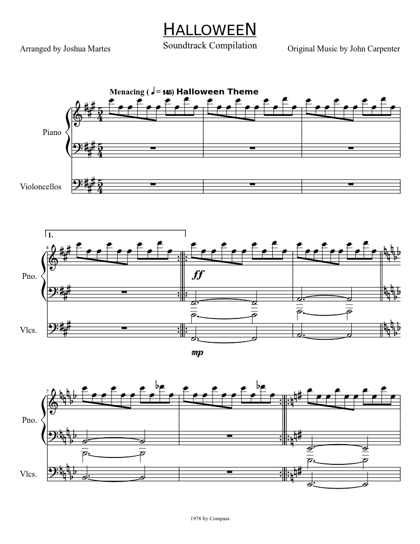 HALLOWEEN sheet music composed by Original Music by John Carpenter \u2013 1 of  11 pages