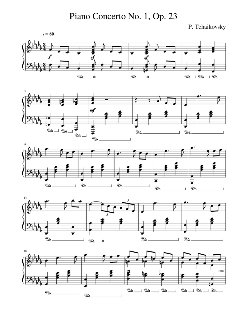 Piano Concerto No 1 Tchaikovsky Sheet Music For Piano Solo Musescore Com