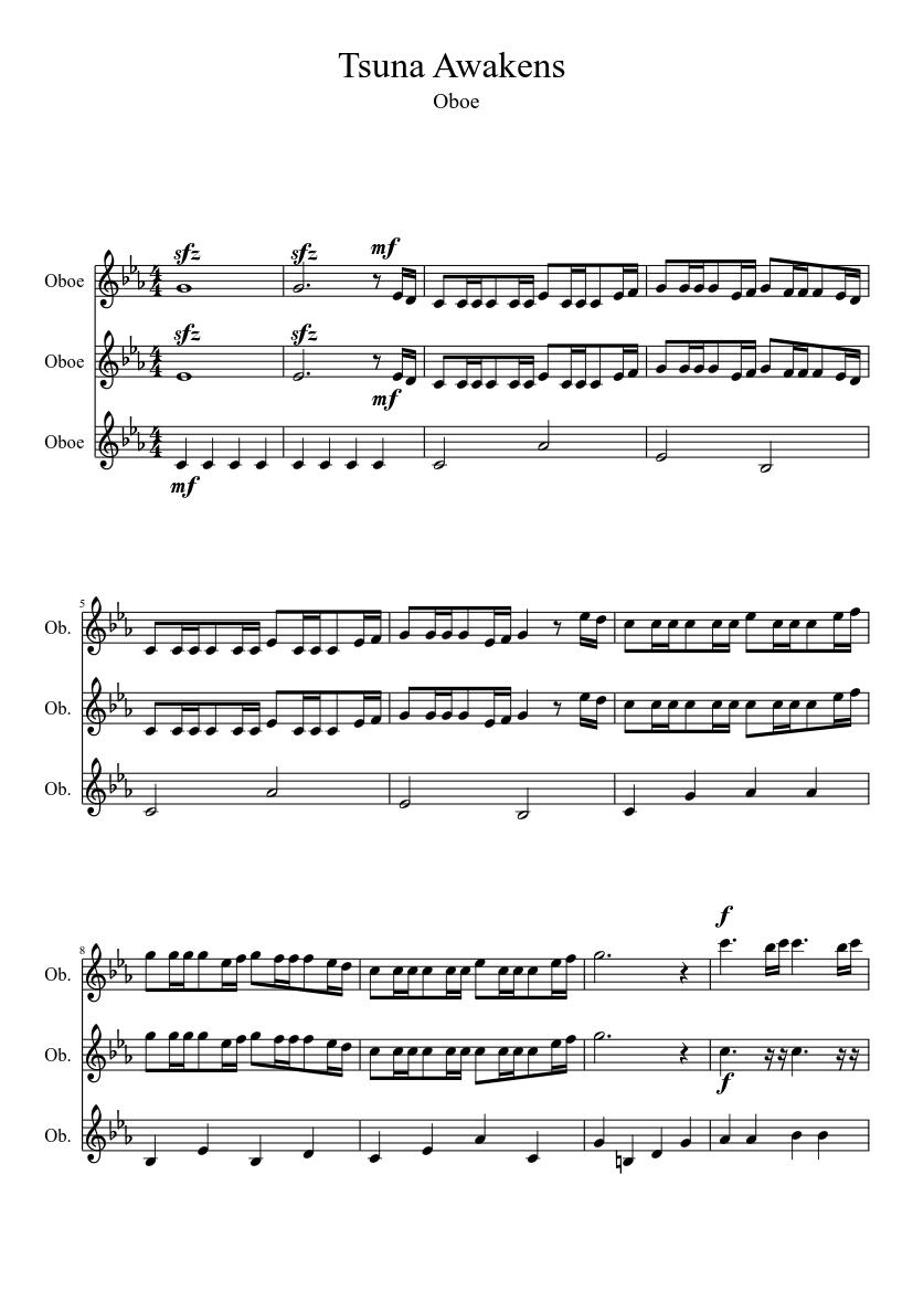 Tsuna Awakens Sheet Music For Oboe Mixed Trio Musescore Com