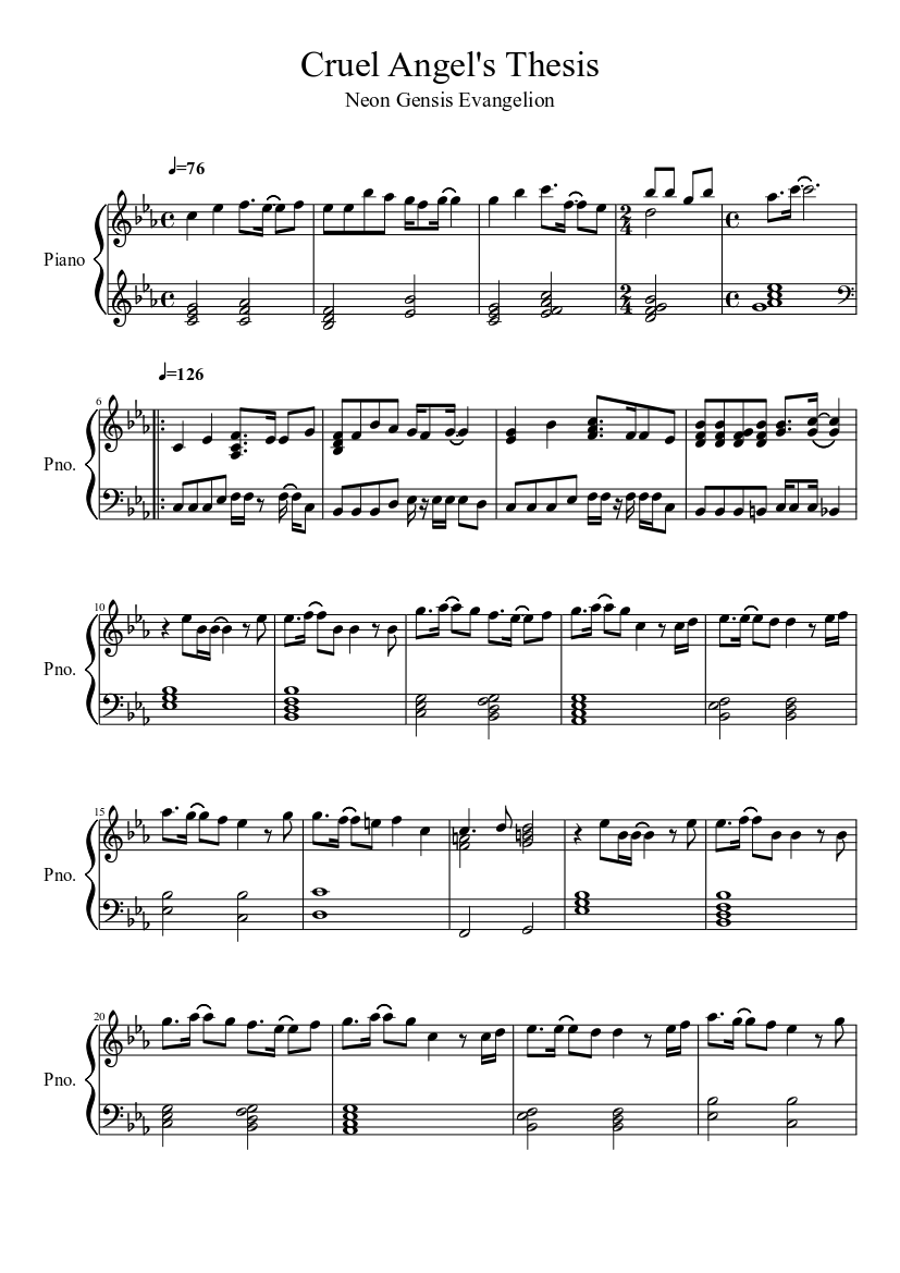 cruel angels thesis piano keys