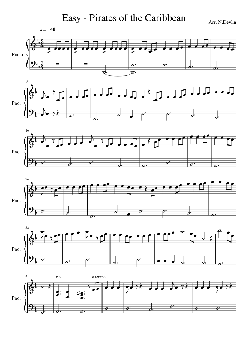 Pirates Of The Caribbean Easy Piano Sheet Music For Piano Download