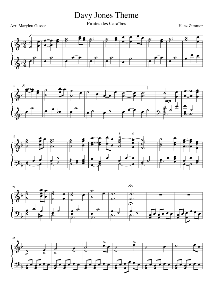 Davy Jones Theme Sheet Music For Piano Download Free In Pdf Or Midi