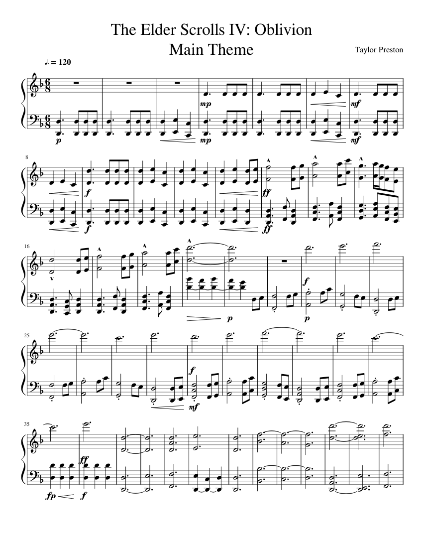 The elder scrolls iv: oblivion main theme piano sheet music for.