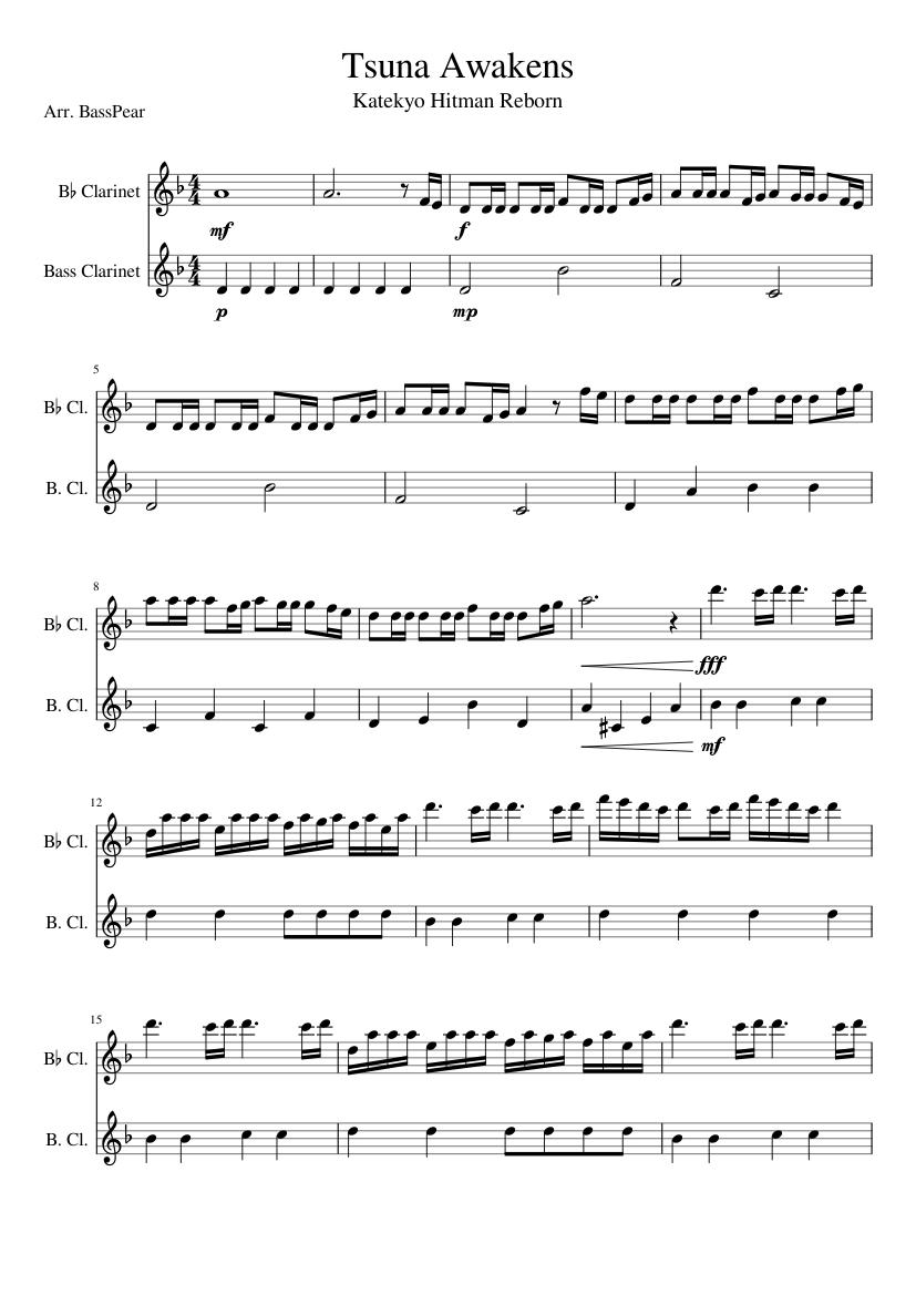 Tsuna Awakens Sheet Music For Clarinet In B Flat Clarinet Bass Woodwind Duet Musescore Com