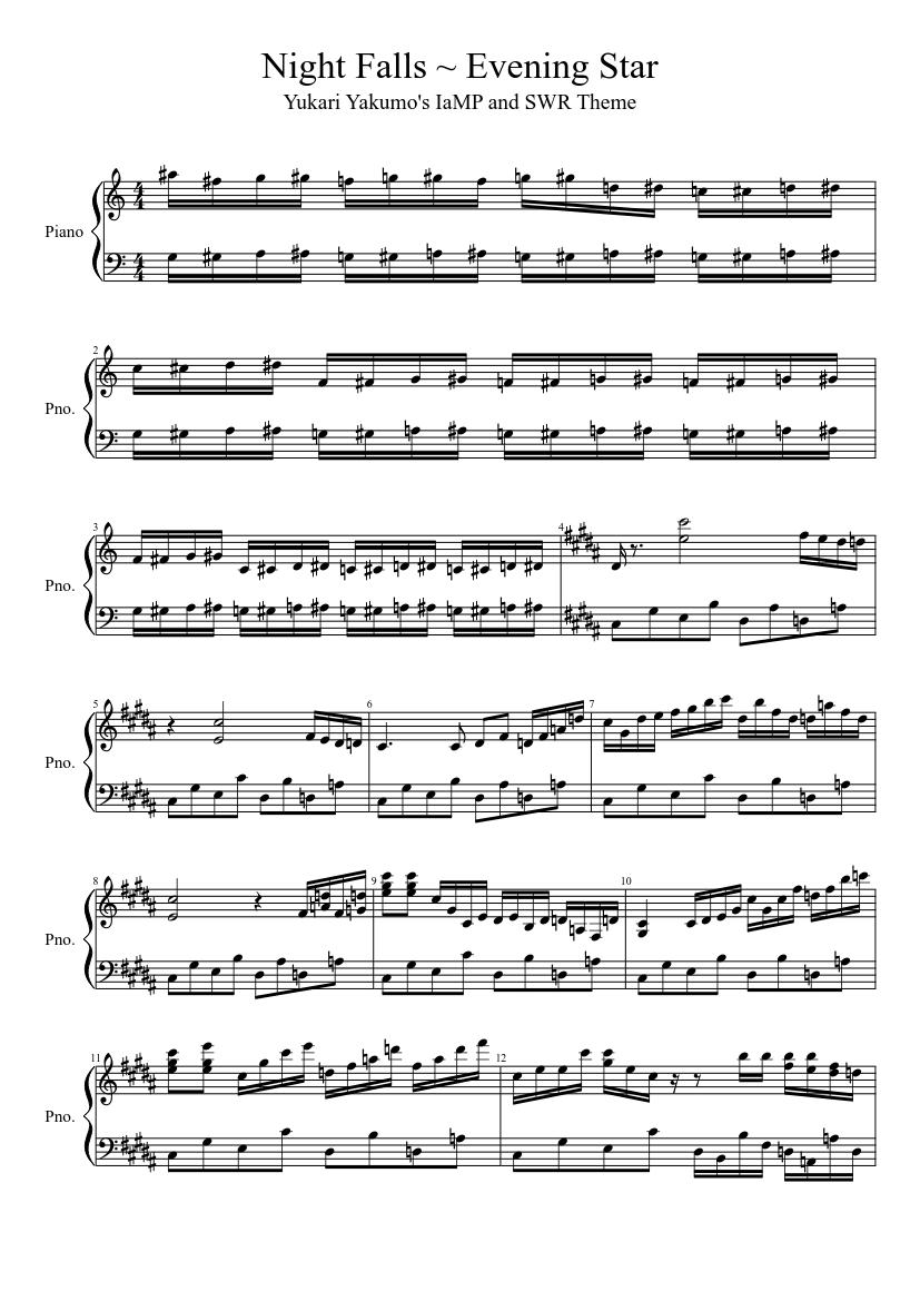 night falls ~ evening star sheet music for piano (solo)   musescore.com  musescore.com