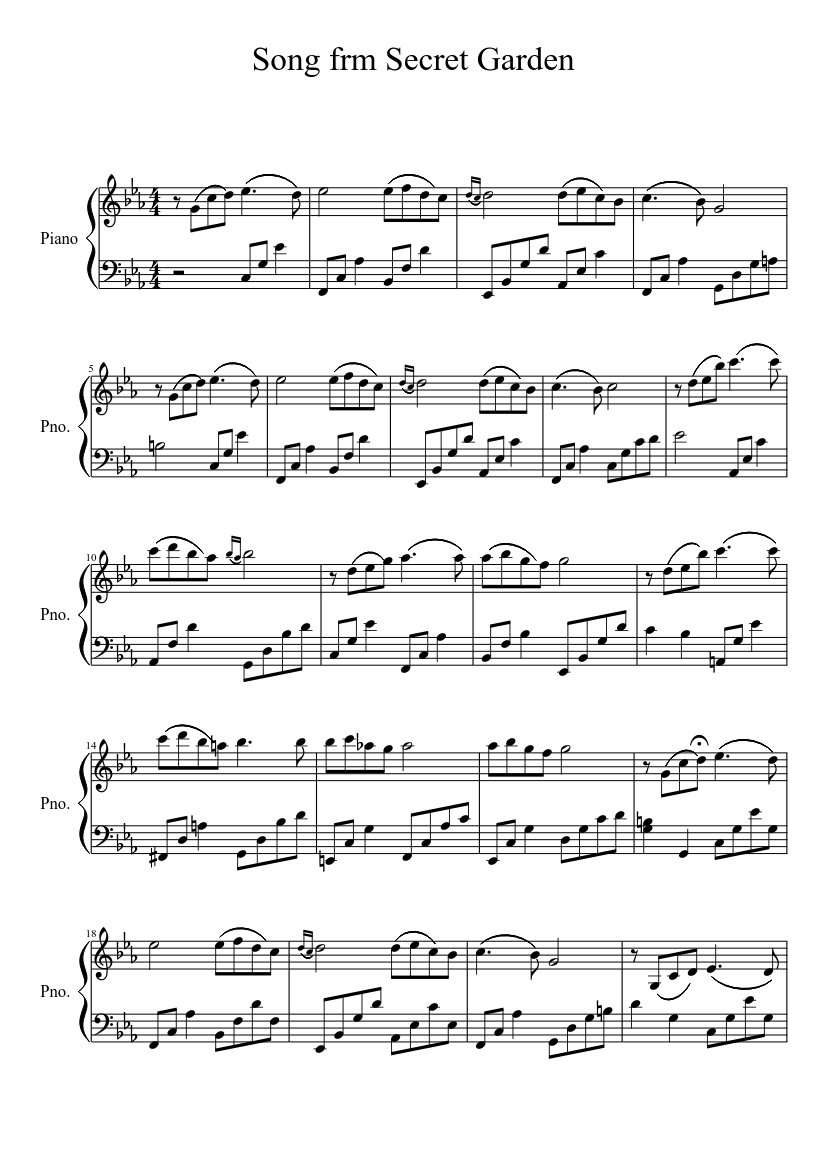 Song of secret garden for piano sheet music for piano download.