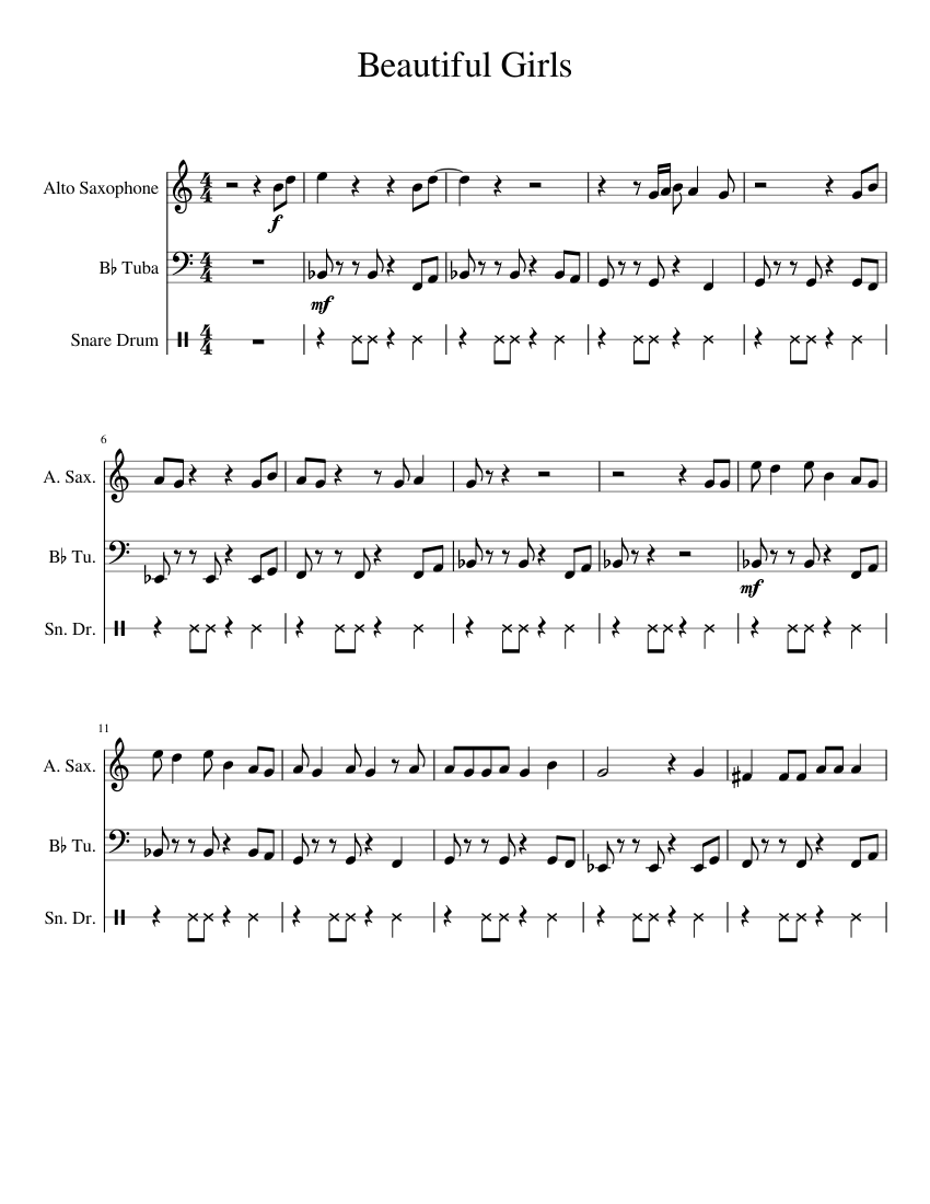 Beautiful Girlsstand By Me Alto Tuba Sheet Music For Alto