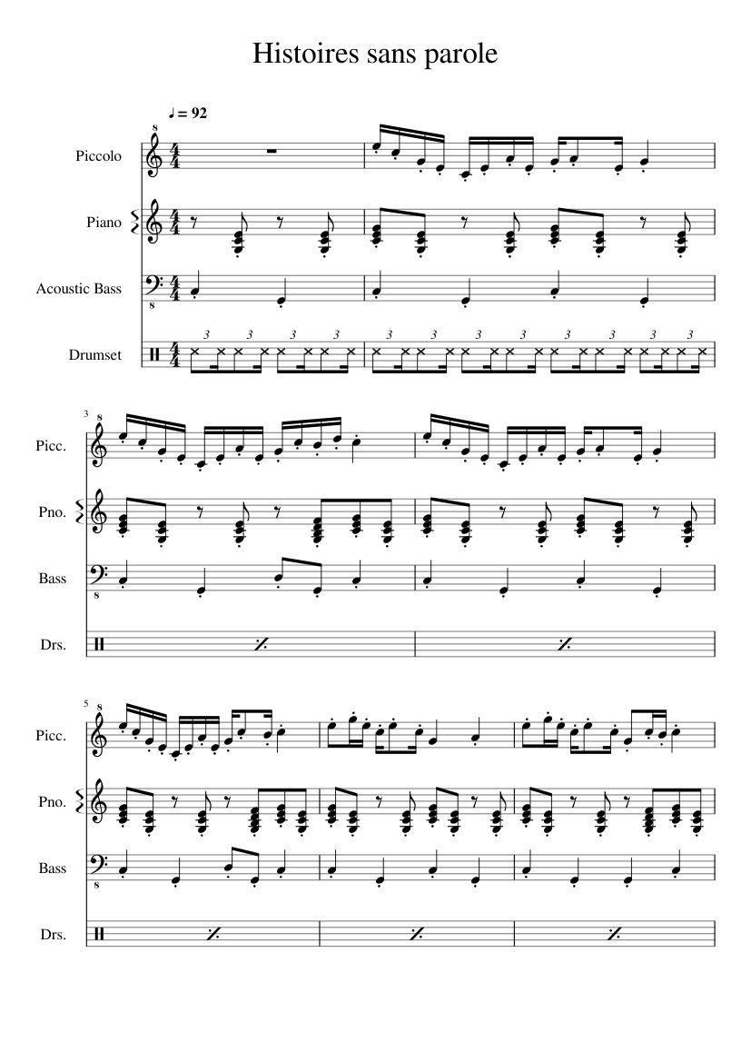 Histoires Sans Paroles After Chicken Reel Sheet Music For Piano
