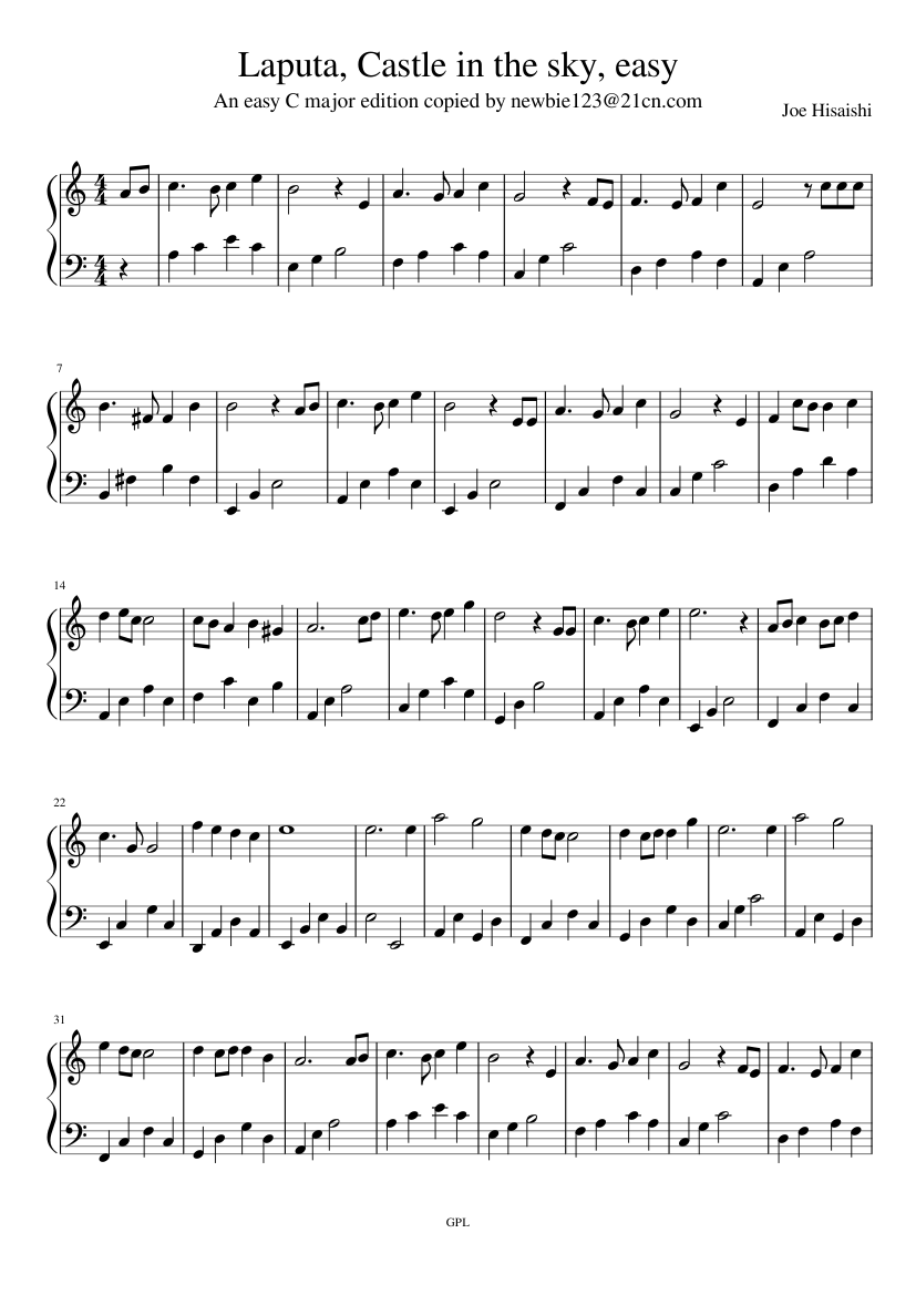 Laputa, Castle in the sky, easy sheet music composed by Joe Hisaishi – 1 of 2 pages