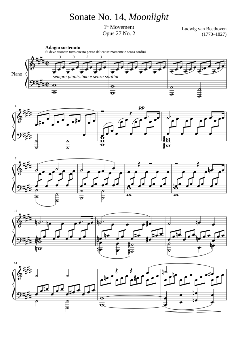 "Sonate No. 14, ""Moonlight"" 1st Movement"