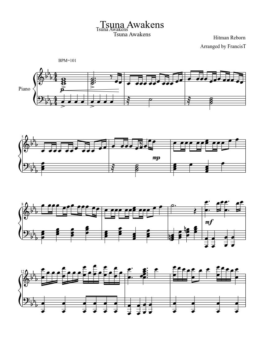 Awakens Tsuna Piano Sheet Music For Piano Solo Musescore Com