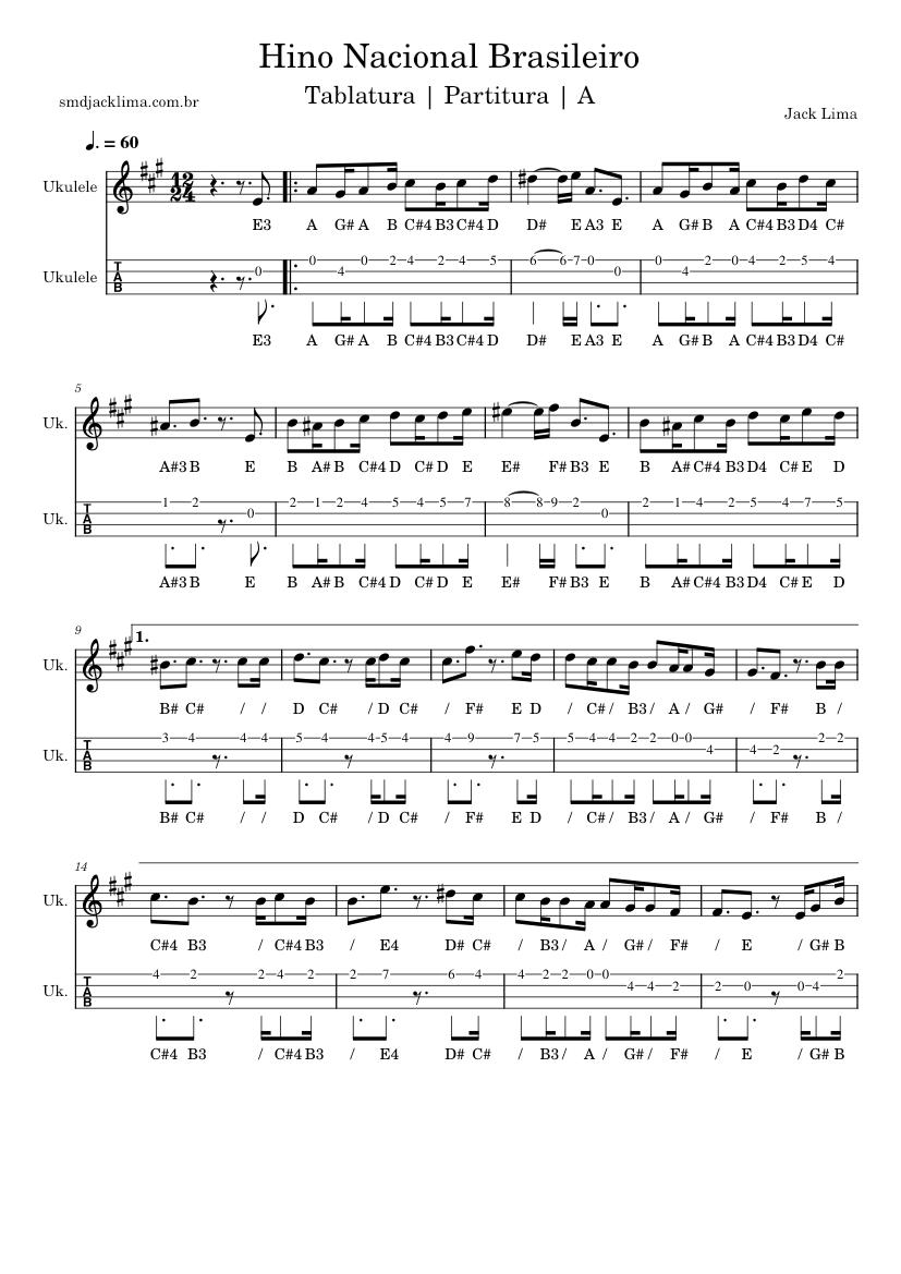 Hino Nacional Brasileiro   Ukulele Soprano   Partitura/Tablatura