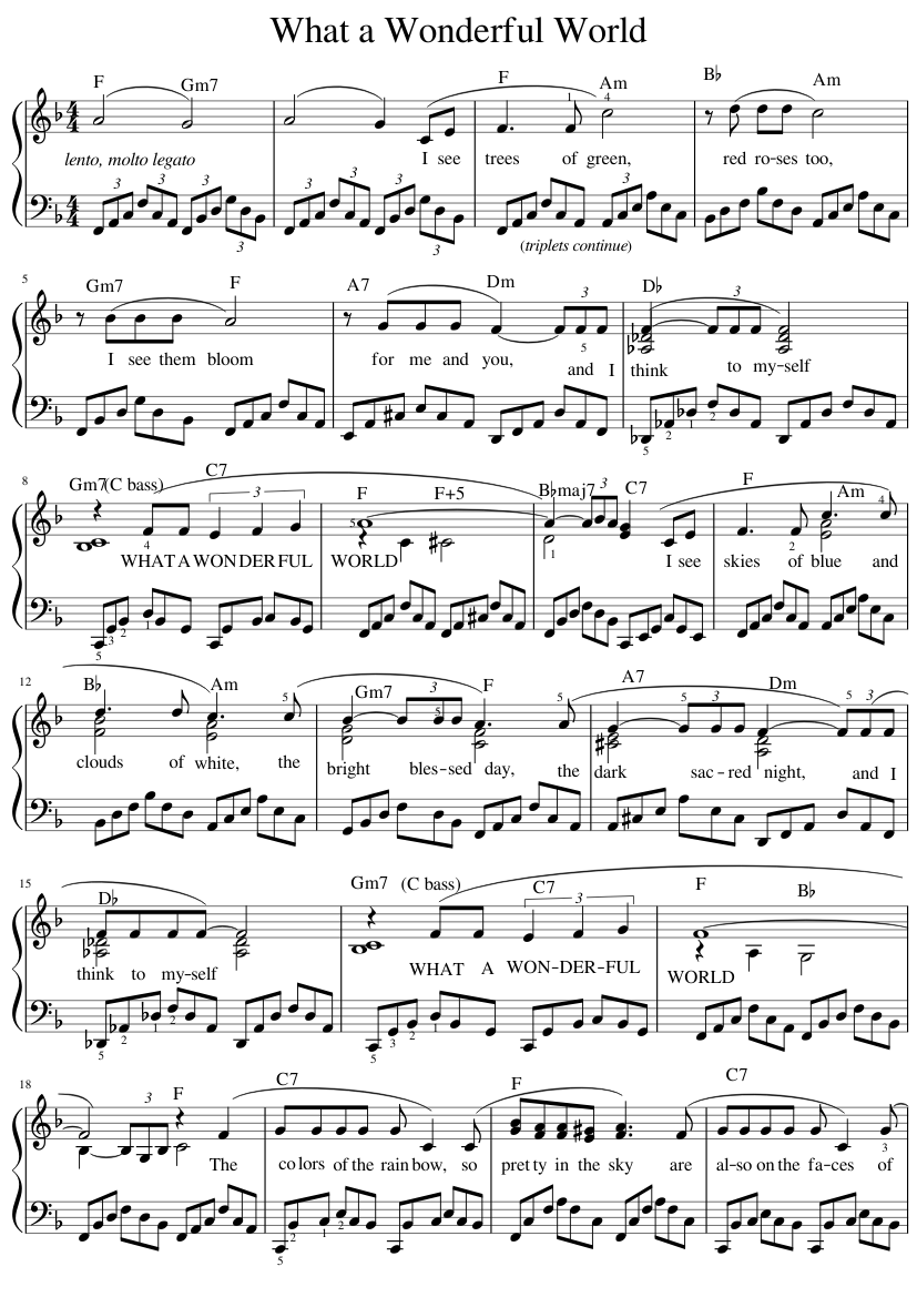 What A Wonderful World Sheet Music For Piano Solo Musescore Com