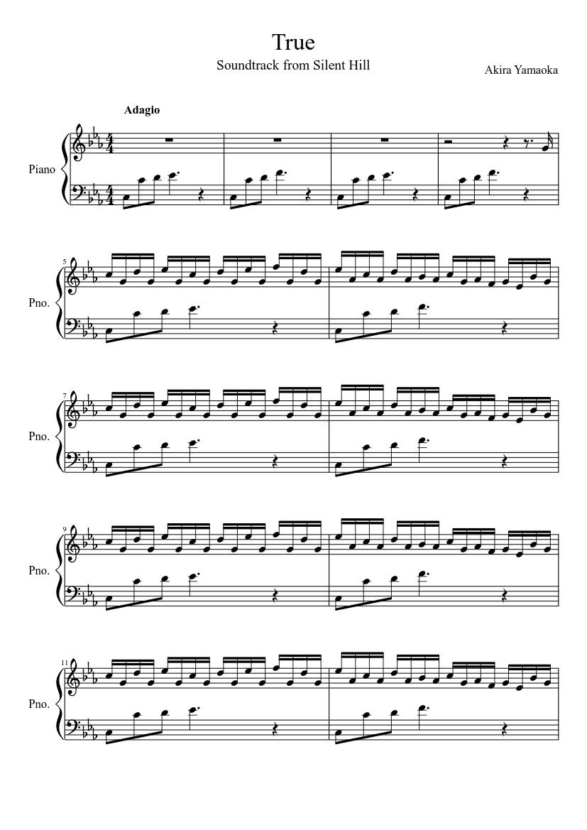 Akira Yamaoka True Sheet Music For Piano Solo Musescore Com