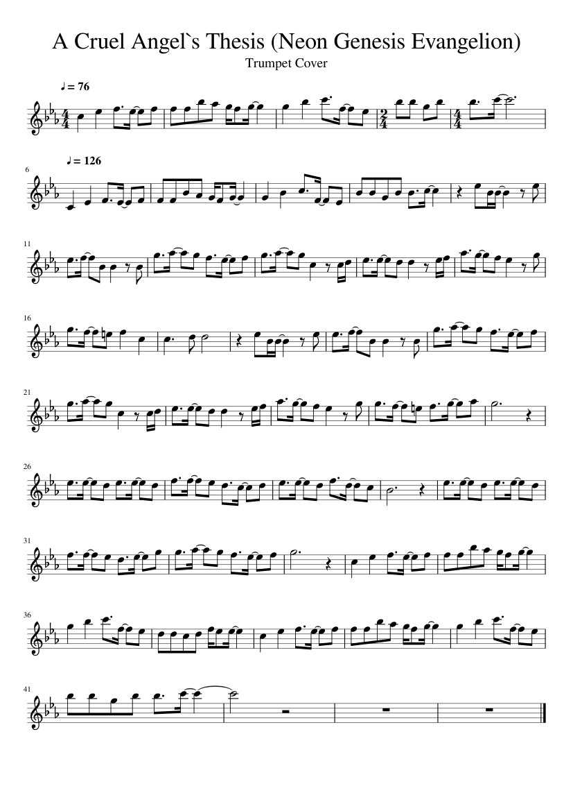 cruel angels thesis flute sheet music
