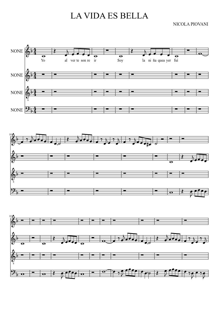 La Vida Es Bella Sheet Music For Piano Mixed Quartet Musescore Com