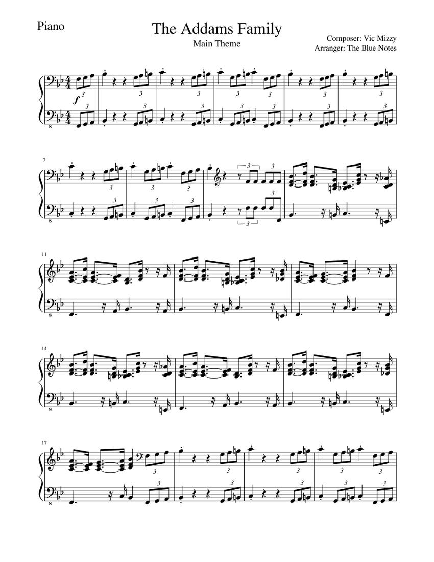 The Addams Family Theme Piano Tutorial Sheet Music For Piano Solo Musescore Com
