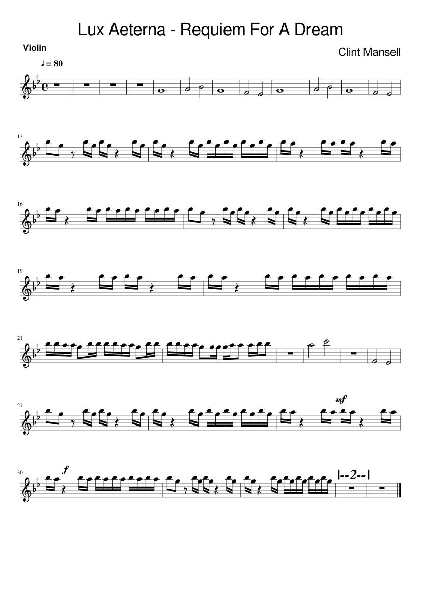Lux Aeterna Requiem For A Dream Sheet Music For Violin Solo Musescore Com