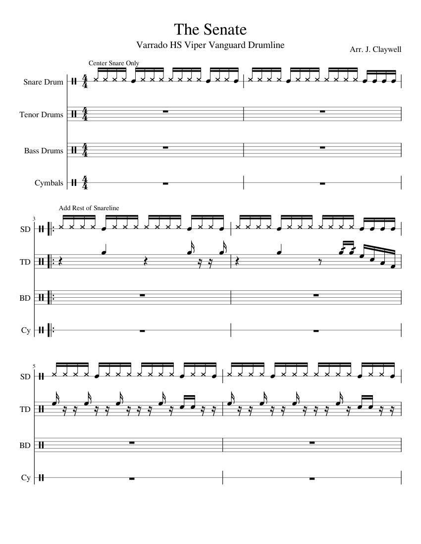 the senate sheet music for percussion download free in pdf or midi