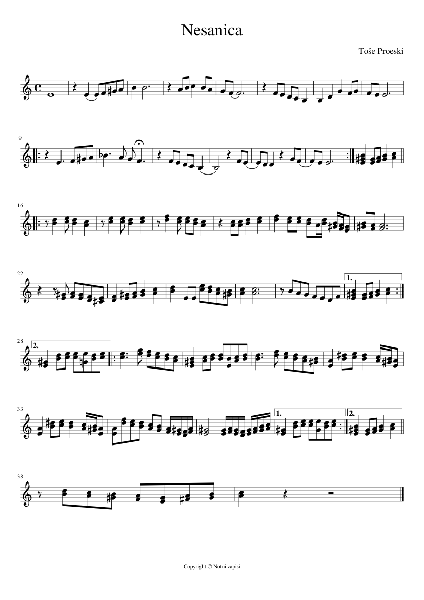 Toše Proeski Nesanica Sheet Music For Piano Download Free In