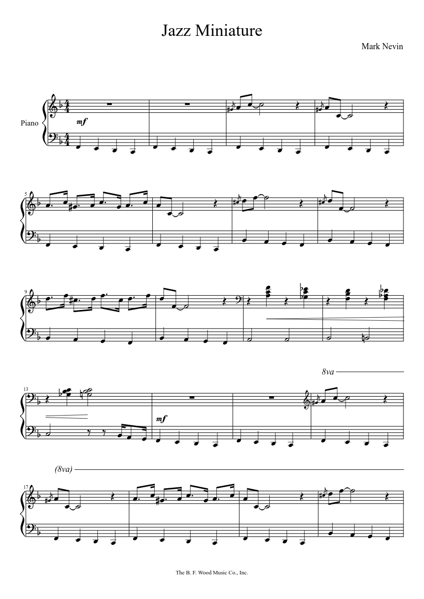 Jazz Miniature sheet music for Piano download free in PDF or MIDI