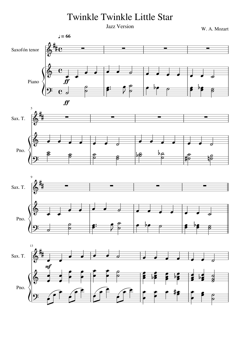 Twinkle Twinkle Little Star sheet music composed by W. A. Mozart – 1 of 2 pages