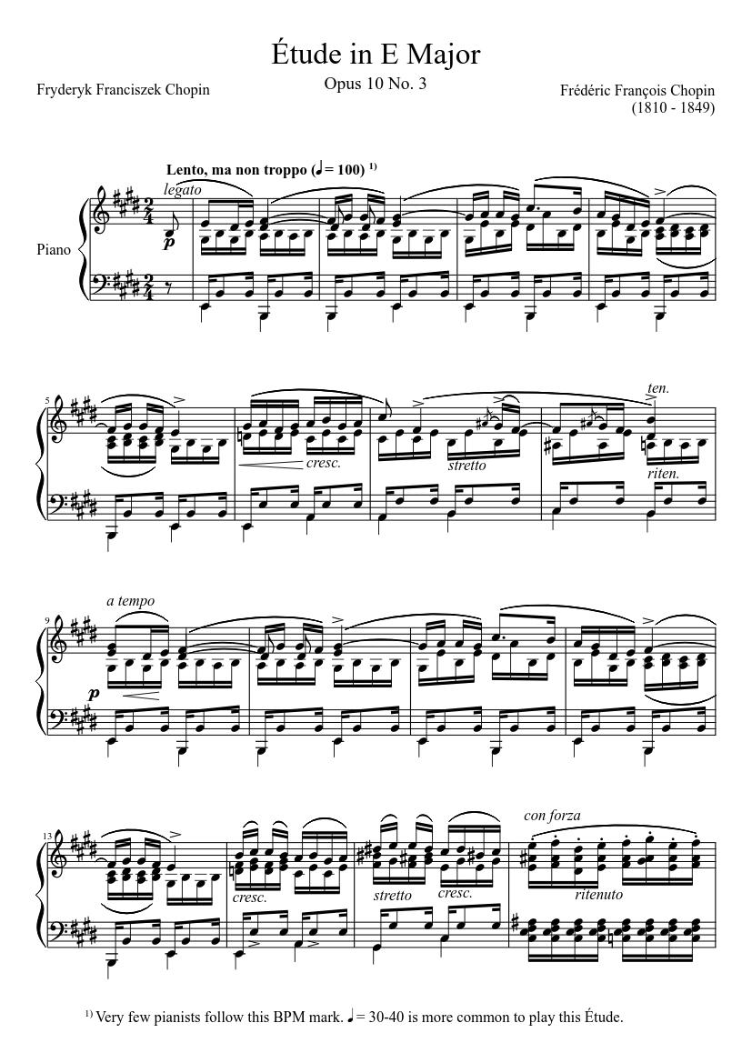 Étude opus 10 no. 3 in e major sheet music for piano (solo) | musescore.com  musescore.com