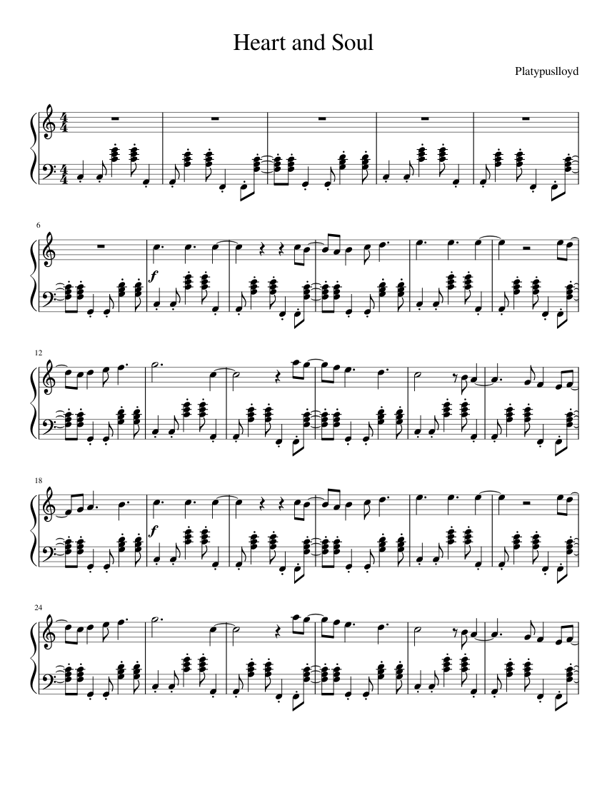 Heart And Soul Piano Sheet Music For Piano Download Free In Pdf Or