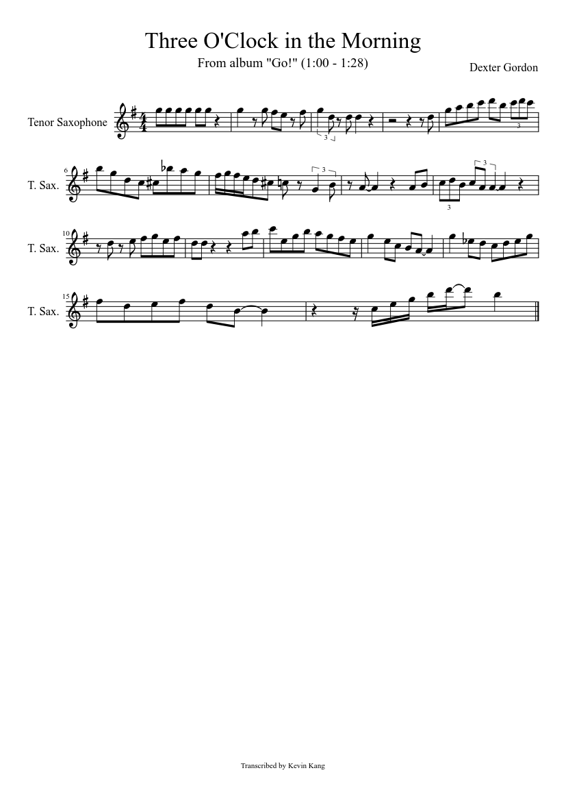 three o clock in the morning sheet music for tenor saxophone