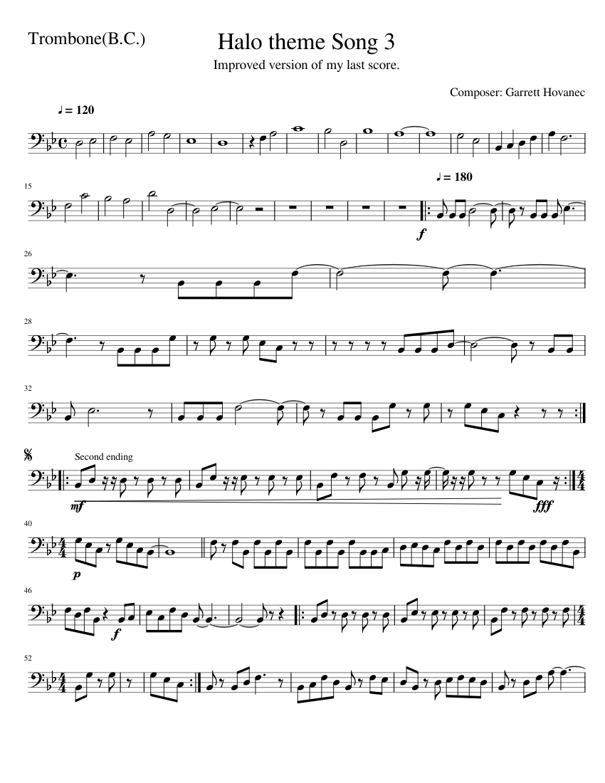 Halo theme Song 3 sheet music for Trombone download free in PDF or MIDI