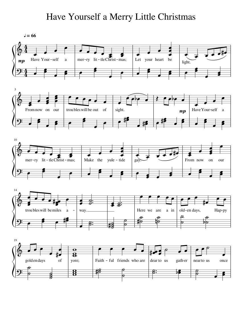 Have Yourself a Merry Little Christmas sheet music – 1 of 2 pages