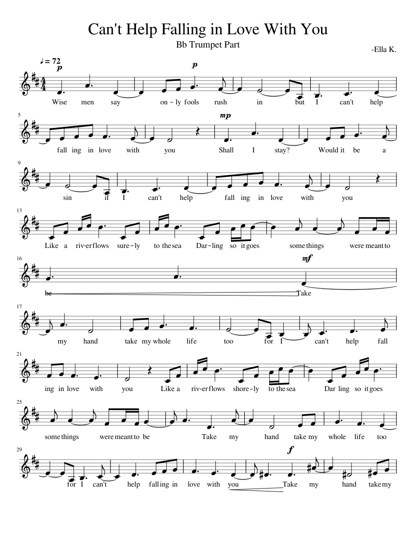 can't help falling in love with you - bb trumpet part sheet music