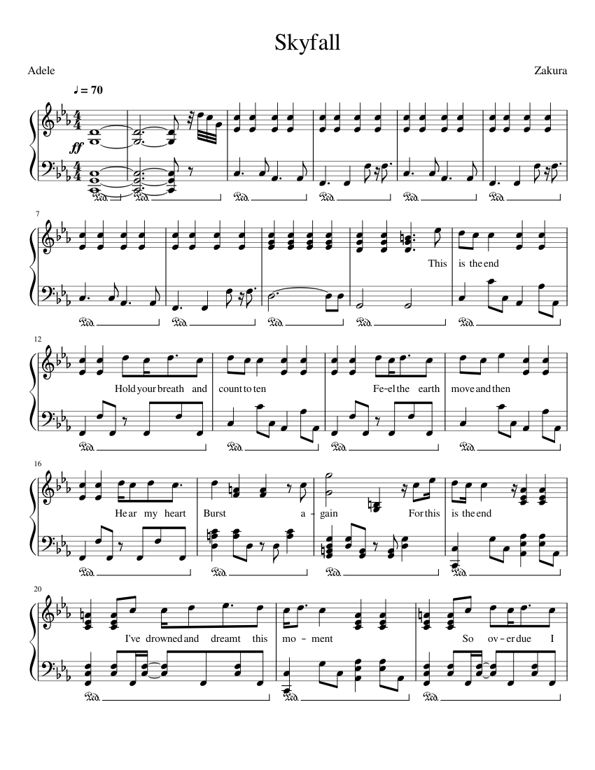Adele   Skyfall Sheet music for Piano Solo   Musescore.com