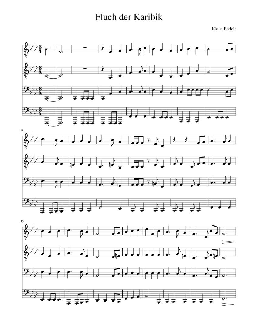 Noten kostenlos fluch der karibik klavier Fluch der