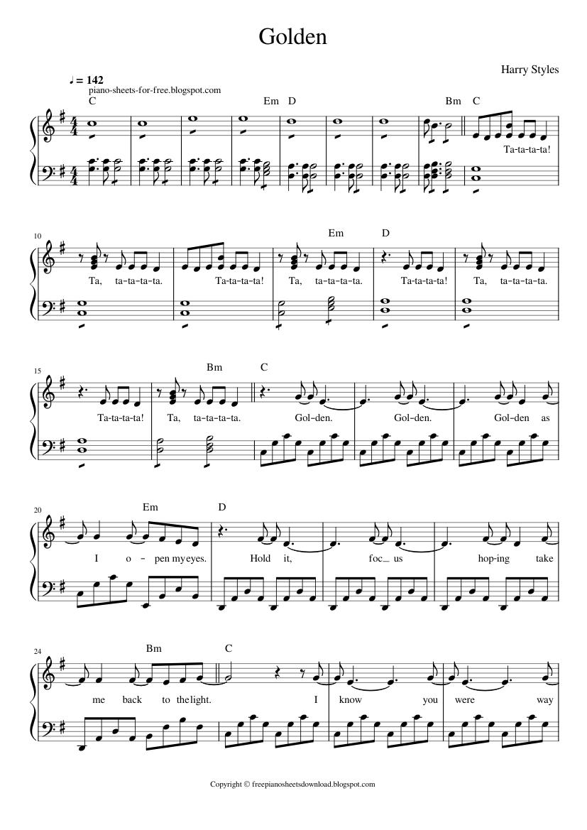 Harry Styles Golden piano sheets