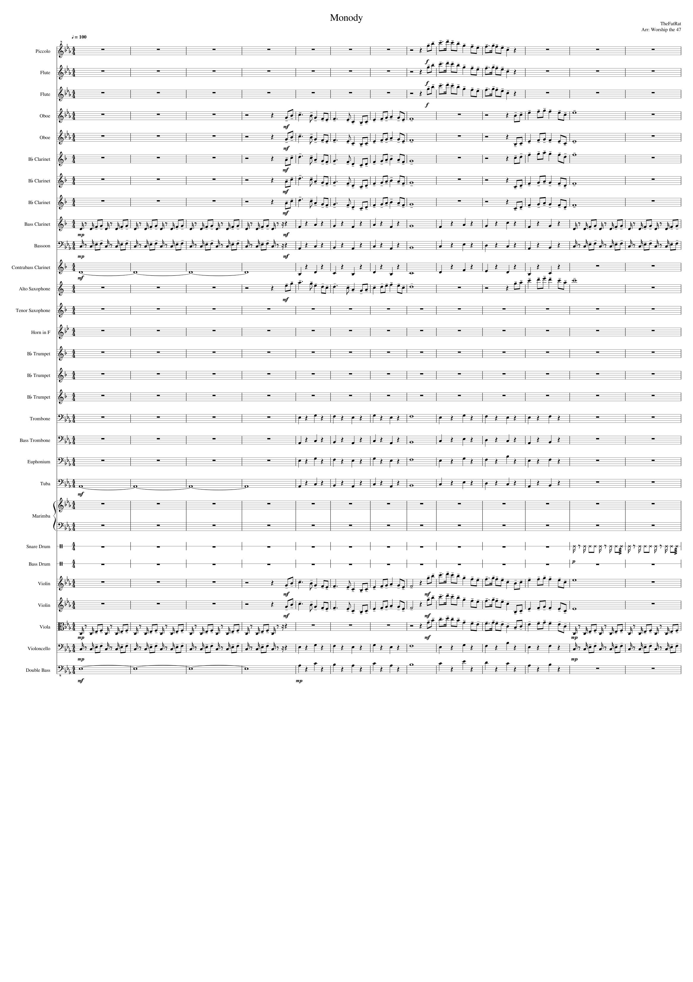 Monody (Orchestral Arrangement) sheet music for Flute