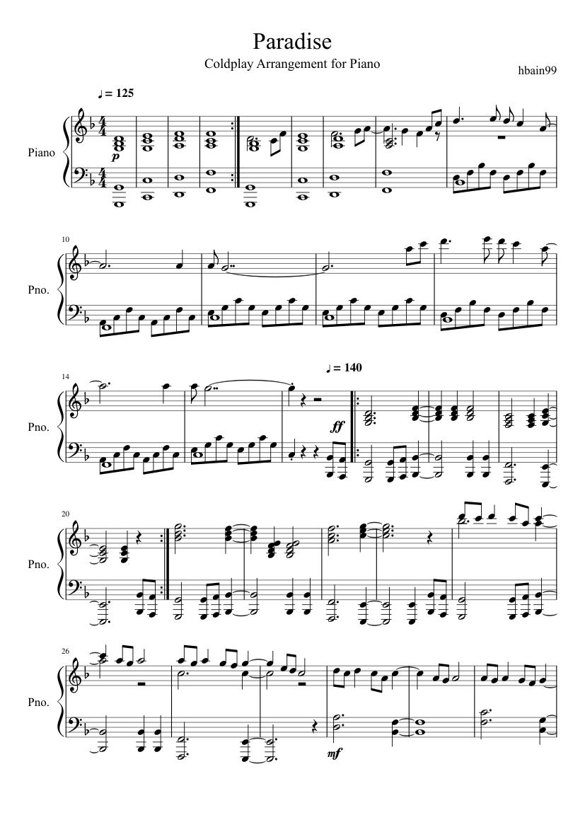 coldplay paradise klaviernoten