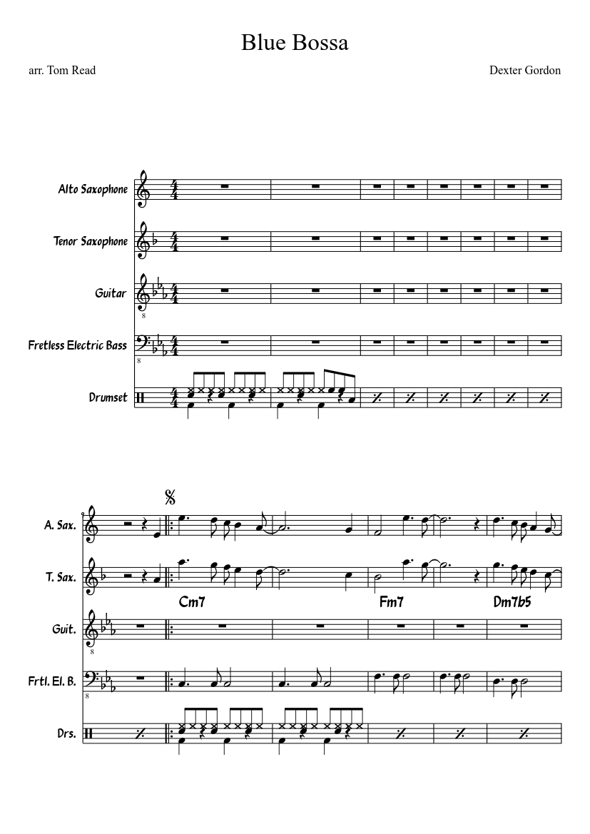 Blue bossa sheet music for piano download free in pdf or midi.