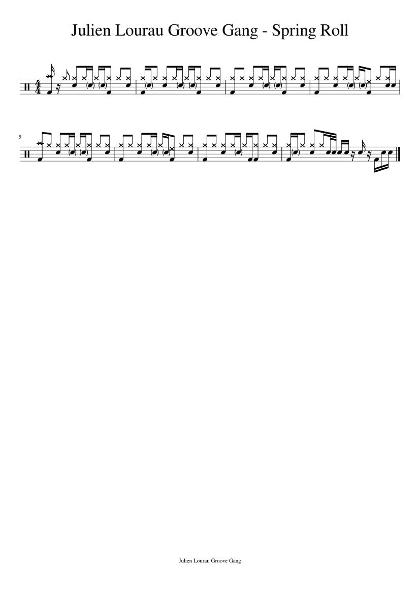 9edcbc2b0312 Julien Lourau Groove Gang - Spring Roll sheet music for Percussion ...