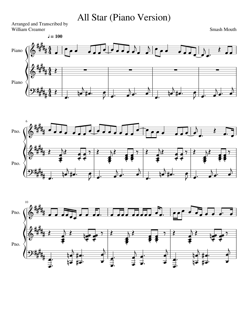 100 Images of All Star Notes Piano